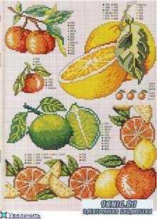 Схемы вышивки крестом. Овощи и